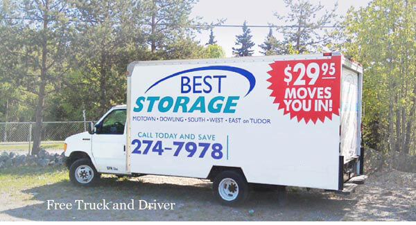 self storage, Free Truck and Driver